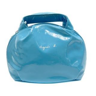 【agnes b】亮面漆皮小手提包(天藍)