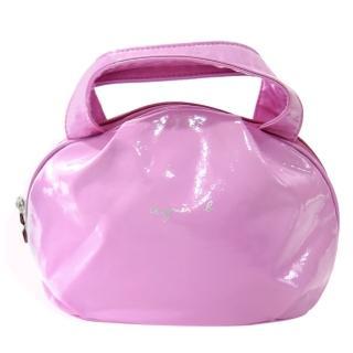 【agnes b】亮面漆皮小手提包(粉紫)