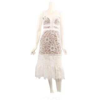 【SELF-PORTRAIT】細肩帶蕾絲長洋裝(雪白色)