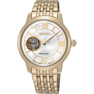 【SEIKO 精工】Presage 羅馬世紀開芯機械女錶(34mm/4R38-01B0K)