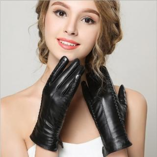 【ego life】小綿羊皮加絨觸控保暖女手套 黑色(羊皮女手套)