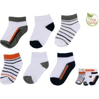 【美國 luvable friend】嬰兒襪/寶寶襪/初生襪 6入組_橘黑條紋(90411)
