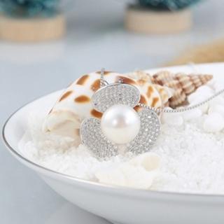 【米蘭精品】項鍊珍珠吊墜流行銀飾品(可愛鑲鑽風扇葉子生日情人節禮物73w46)
