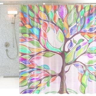 繽紛特級加厚防潑水浴簾-希望樹(加不鏽鋼浴簾桿)