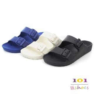 ~101玩shoes~一體成形輕量防水柏肯拖鞋~男款~女大 可穿^(白.藍.2色.40~4