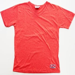 【NBL-NEWBOYLONDON】T0517R紅色素面V領短T(薄款素面純棉V領)