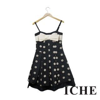 【ICHE 衣哲】ICHE衣哲 3D雕花點點蝴蝶結肩帶禮服洋裝