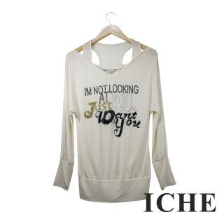 【ICHE 衣哲】ICHE衣哲 字母假兩件拼接米白長版造型上衣
