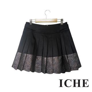 【ICHE 衣哲】ICHE衣哲 金屬光澤感拼接百摺造型黑短裙