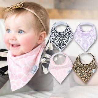 【美國 Copper Pearl】雙面領巾造型圍兜口水巾4件組 - 粉紅豹紋 ZACPPY7KP(快速到貨)