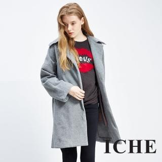 【ICHE 衣哲】羊毛翻領百搭灰長版外套大衣