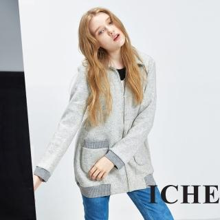 【ICHE 衣哲】高領拉鍊拼接羅紋羊毛長版外套