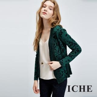 【ICHE 衣哲】蕾絲圖紋印花羊毛針織外套