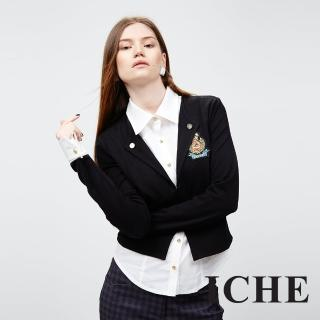 【ICHE 衣哲】ICHE衣哲 羊毛假兩件拼接長袖造型黑上衣