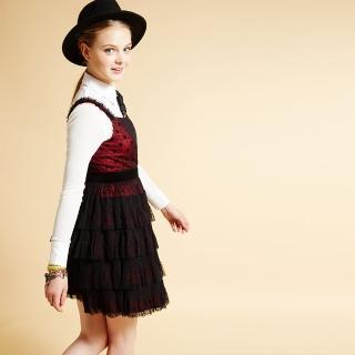 【ICHE 衣哲】ICHE衣哲 點點紗蛋糕疊層拼接禮服洋裝