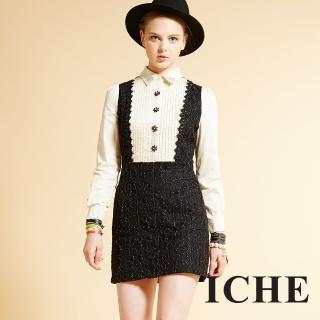 【ICHE 衣哲】ICHE衣哲 3D立體雕花假兩件拼接襯衫長袖洋裝