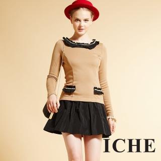 【ICHE 衣哲】ICHE衣哲 羊毛假兩件拼接造型長袖洋裝
