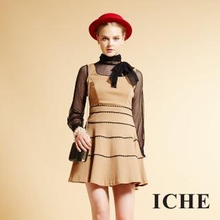 【ICHE 衣哲】ICHE衣哲 高領蝴蝶結假兩件拼接點點長袖洋裝