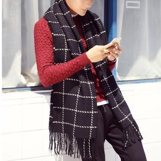 【幸福揚邑】韓版冬季經典百搭情侶粗毛線格子加長披肩圍巾(黑)