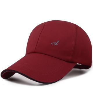 【幸福揚邑】防風防曬舒適透氣戶外運動字母刺繡棒球帽鴨舌帽(暗紅)
