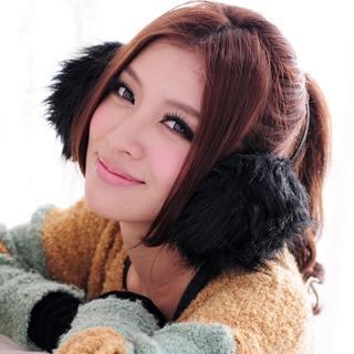 【Lady c.c.】威尼斯的雪抒情仿狐狸毛耳罩(黑)