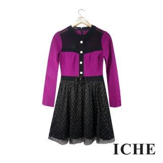 【ICHE 衣哲】色塊拼接蕾絲造型紫長袖洋裝