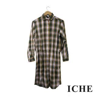 【ICHE 衣哲】格紋長版襯衫洋裝 兩穿
