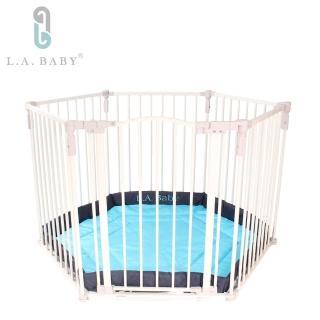 【L.A. Baby 加州貝比】多功能兒童安全圍欄(軟墊綠色)