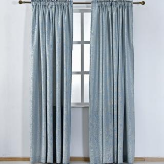 【伊美居】藍鵲緹花落地窗簾 130x230cm-2件