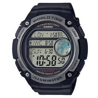 【CASIO】10年電池金屬色系數位腕錶(AE-3000W-1A)