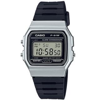 【CASIO】經典金屬色系運動電子腕錶(F-91WM-7A)