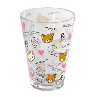 【San-X】拉拉熊紅粉愛心系列透明立體塑膠水杯(粉愛心)