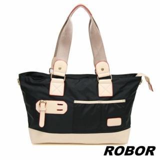 【韓系型男ROBOR】韓版休閒百搭中性尼龍側背包旅行包(黑色)