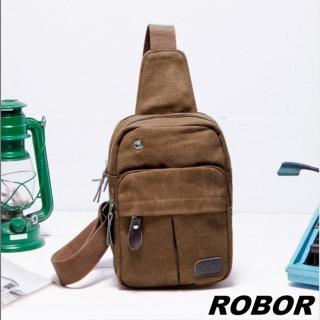【韓系型男ROBOR】搖滾風帆布包單肩包單車包(棕色)