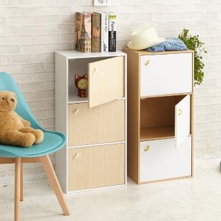 【ikloo宜酷屋】簡約木紋三門收納櫃/置物櫃