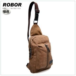 【韓系型男ROBOR】貝隆風格帆布包單肩包(棕色)