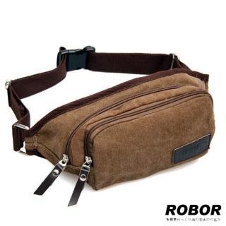 【韓系型男ROBOR】韓風潮流雙拉鍊帆布包腰包(棕色)