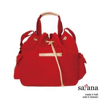 【satana】抽繩水桶包(紅色)