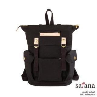 【satana】漫遊拉鍊後背包(黑色)