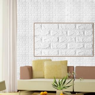 3D立體DIY仿磚紋壁貼3片組(大尺寸77*70cm)