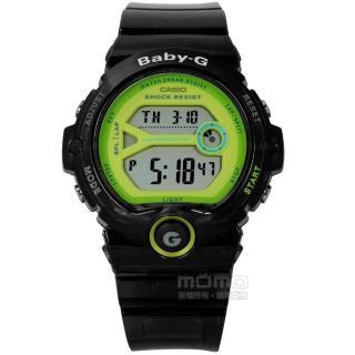【CASIO 卡西歐】Baby-G 卡西歐熱愛運動果凍半透明兩地時間橡膠手錶 黑色 45mm(BG-6903-1B)