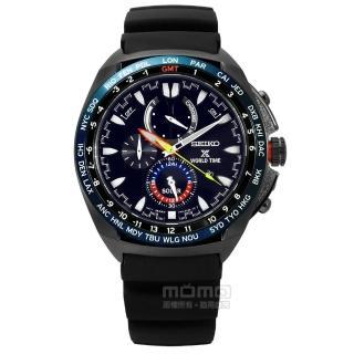 【SEIKO 精工】PROSPEX 衝鋒極限環保太陽能矽膠手錶 黑色 44mm(V195-0AB0SD.SSC551P1)