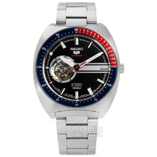 【SEIKO 精工】★贈皮錶帶/五號盾牌零極限鏤空機械不鏽鋼手錶 黑色 44mm(4R38-01K0D.SSA329J1)