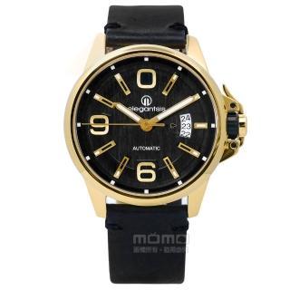 【elegantsis】品味強勢回歸機械真皮手錶 黑x金框 44mm(ELJT55A-NB03LC)