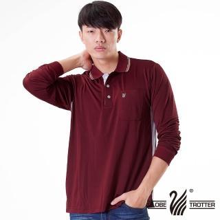 【遊遍天下】台灣製男款抗UV吸濕排汗機能POLO長衫L075磚紅(M-5L)