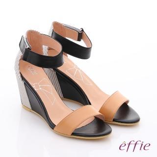 【effie】個性涼夏 金箔真皮一字帶楔型涼鞋(卡其)