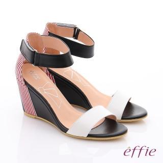 【effie】個性涼夏 金箔真皮一字帶楔型涼鞋(白)