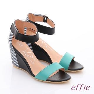 【effie】個性涼夏 金箔真皮一字帶楔型涼鞋(正綠)