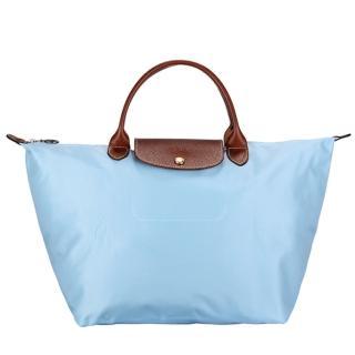 【Longchamp】經典短提把中型尼龍水餃包(薄霧藍)