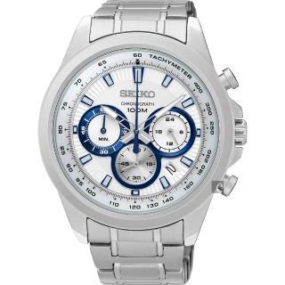 【SEIKO】精工 CS 破風競速計時腕錶-銀/45mm(8T63-00F0S  SSB239P1)
